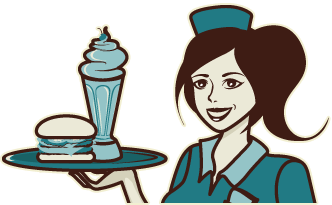 Cartoon Image of Waitress